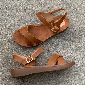 Tan Low Heel Comfy Criss Cross Buckle Sandals